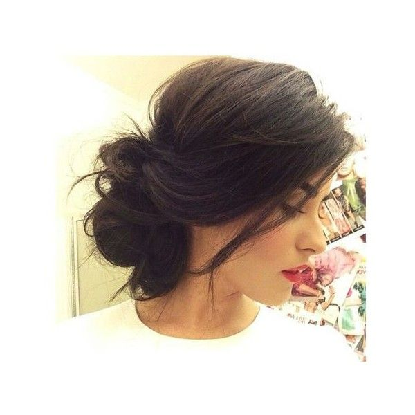 Messy Bun For Short Hair Liked On Polyvore Featuring Hair And Updo Hair Styles Hair Beauty Long Hair Styles
