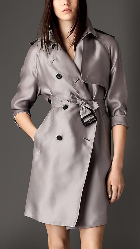 84f3118cf25 Burberry Long Silk Trench Coat With Oversize Detail | Women's ...