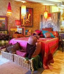 Bedroom, Comfortable Bedroom Interior Design with Boho Chic Furniture : Stunning Boho Bedroom Interior Design With Colorful Bed Stuff Below