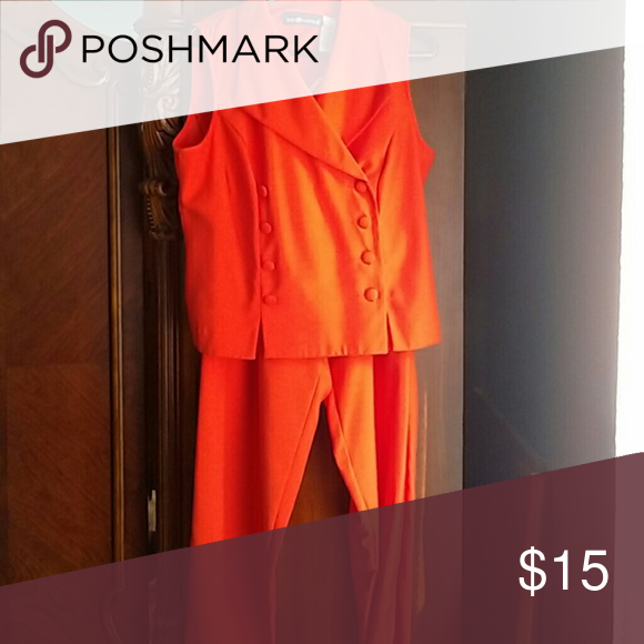 Sleeveless Double Breasted pant suit Great summer suit for office bright red/ orange Sag Harbor Other