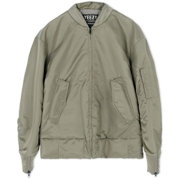 Adidas X Kanye West Jacket ($1,458) ❤ liked on Polyvore featuring outerwear, jackets, coats & jackets, tops, military green, army green jacket, olive green jacket, green zipper jacket, green zip jacket and green jacket