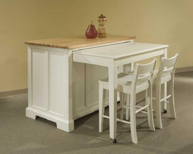 Space Saving Kitchen Island With Pull Out Table Homesfeed Kitchen Island Plans Portable Kitchen Island Kitchen Island Bar