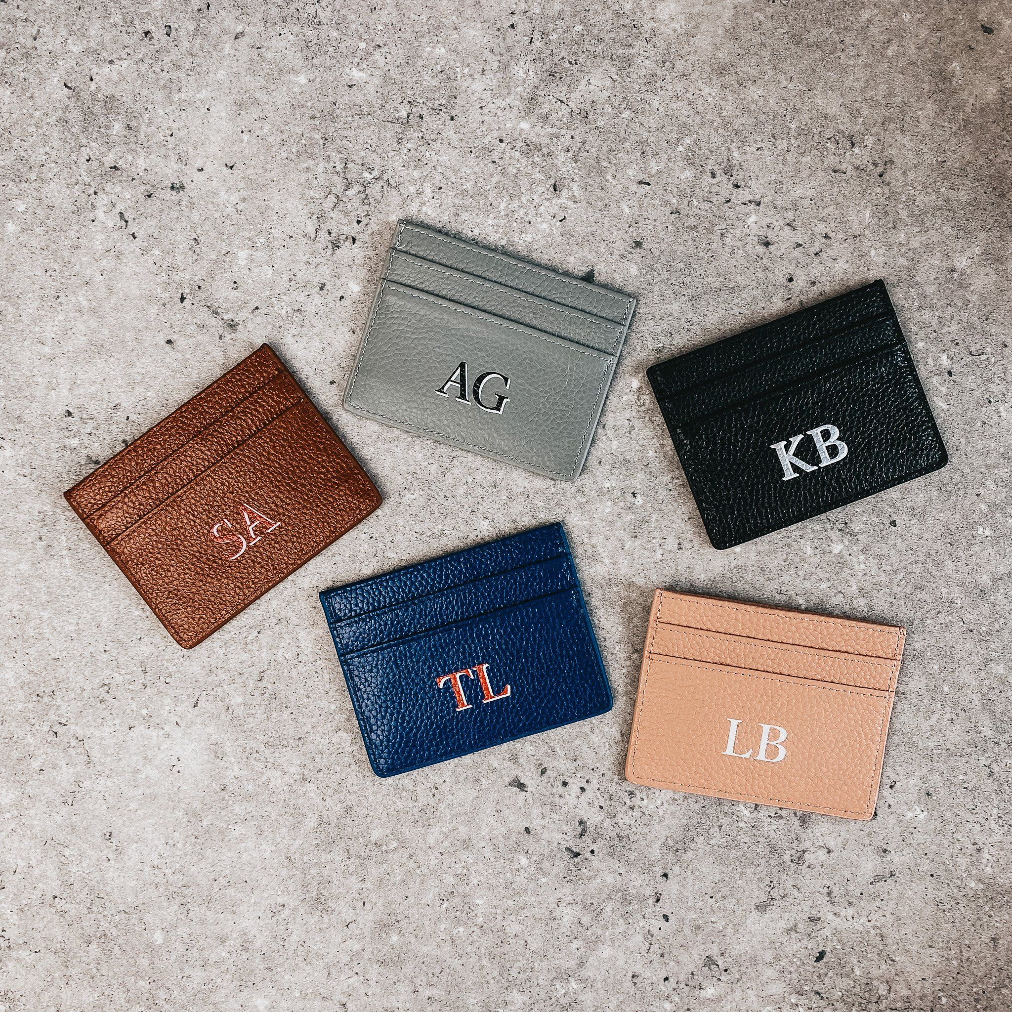 Drop Shadow Pebble Leather Card Holder | Nude
