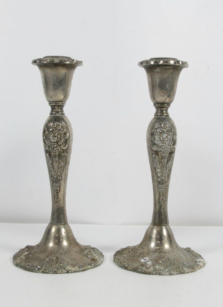 Pair Godinger Style Silverplated Candle Stick Holders Ornate Baroque Engraving