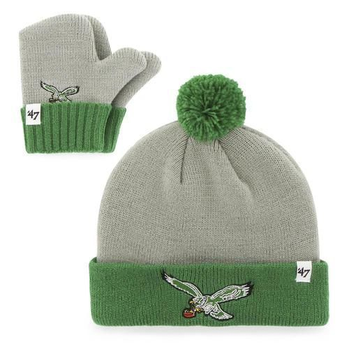 Infant Knit Philadelphia Eagles Hat and Mittens Set  556fa2b57d62
