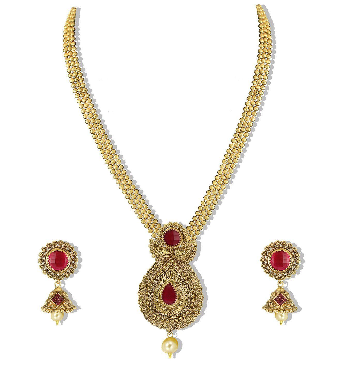 Zaveri Pearls Gold Non Precious Metal Pendant Necklace With Jhumki