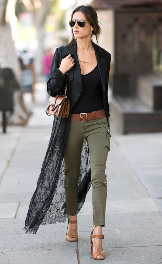 Alessandra Ambrosio in a black top, black lace duster coat, skinny cargo pants and heels - click through for more spring outfits