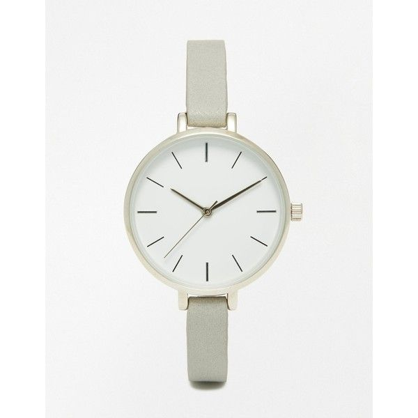 ASOS Sleek Large Face Skinny Strap Watch (230 DKK) ❤ liked on Polyvore featuring jewelry, watches, grey, gray watches, grey watches, asos, pin jewelry and asos watches