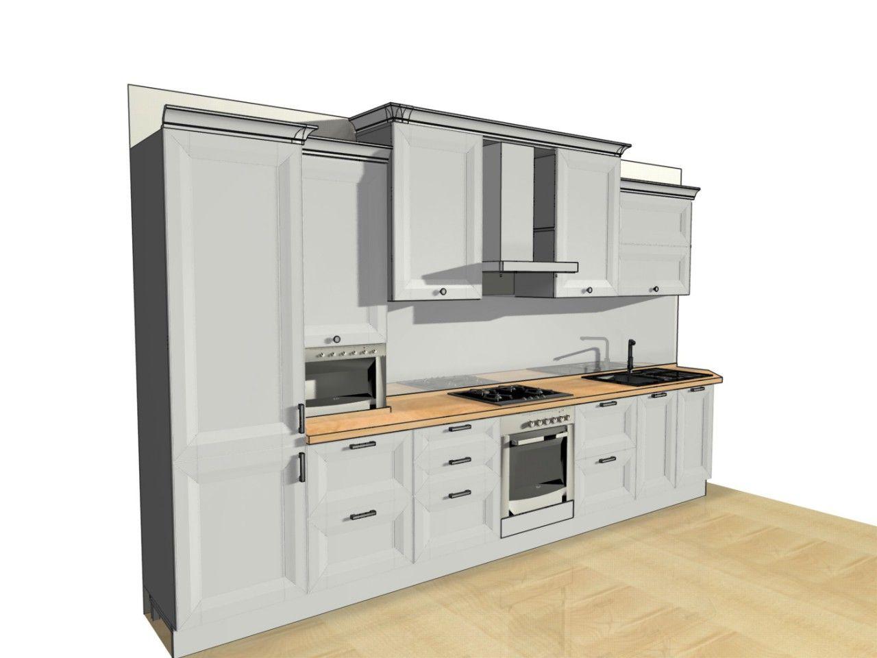 макет Pro100 макет кухни кухня белая кухни со встроенной техникой