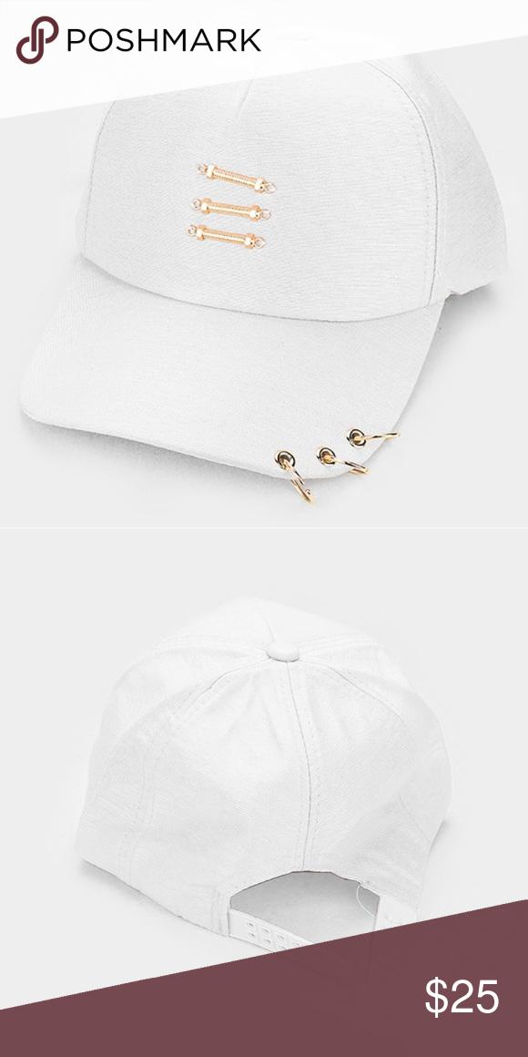 White And Gold Three Ring Brim Baseball Hat Brim Baseball Hats Three Rings
