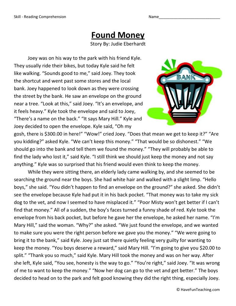 This Reading Comprehension Worksheet - Found Money is for teaching ...
