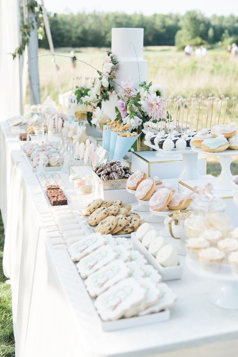 A Gorgeous Backyard Wedding In Buffalo New York Wedding Dessert Table Dessert Bar Wedding Wedding Desert Table