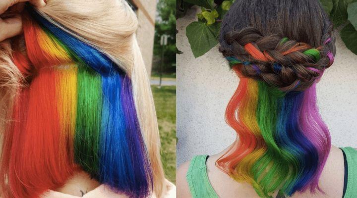 Hidden Rainbow Hair Is The Perfect Trend For Low Key Rebels Hidden Rainbow Hair Peekaboo Hair Hidden Hair Color