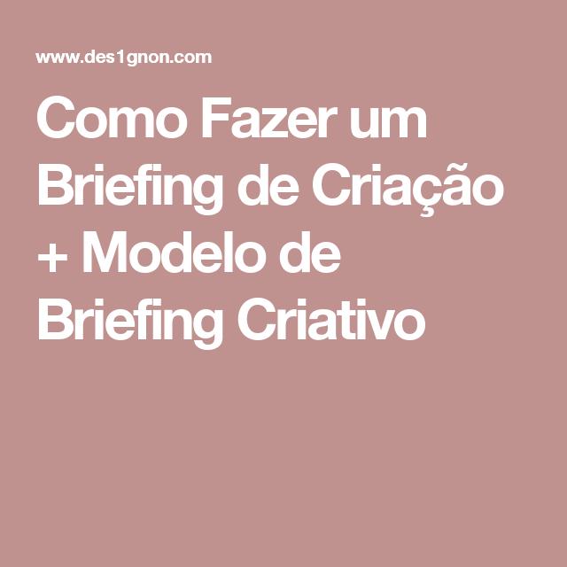 Como Fazer Um Briefing De Criação Design Gráfico Modelo