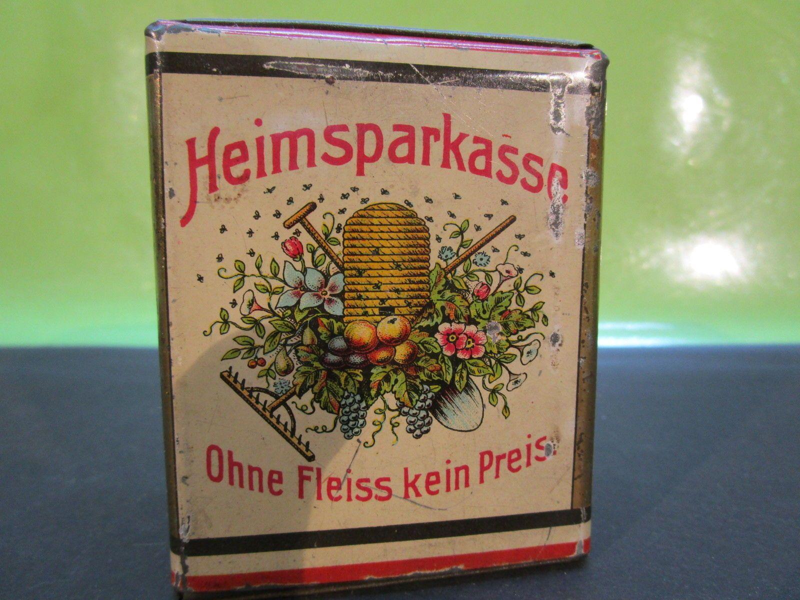 alte Spardose HEIMSPARKASSE - Blech Sparbüchse - vor 1945 | eBay