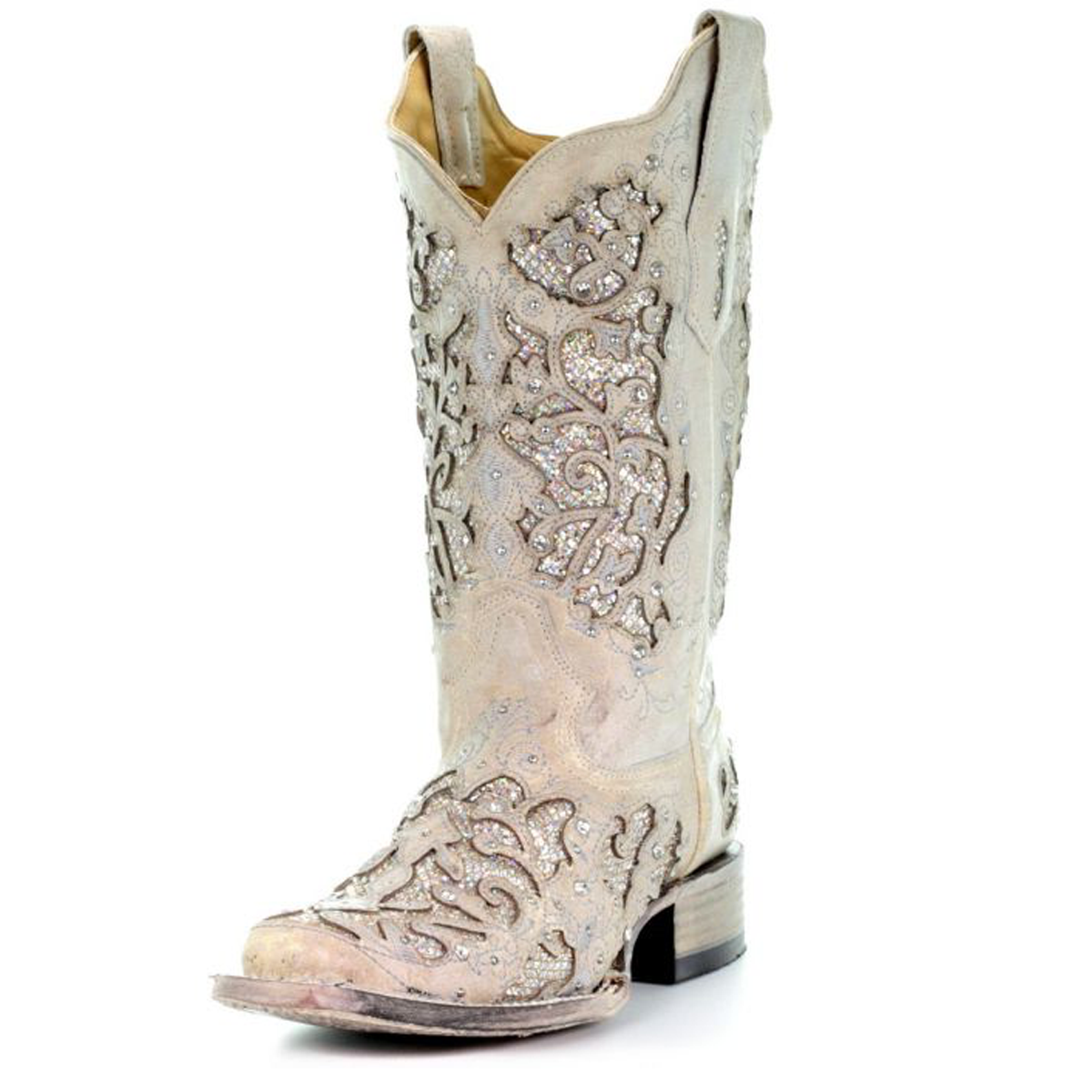 96e562af23b Corral Women's White Glitter & Crystals Square Toe Cowgirl Boot ...