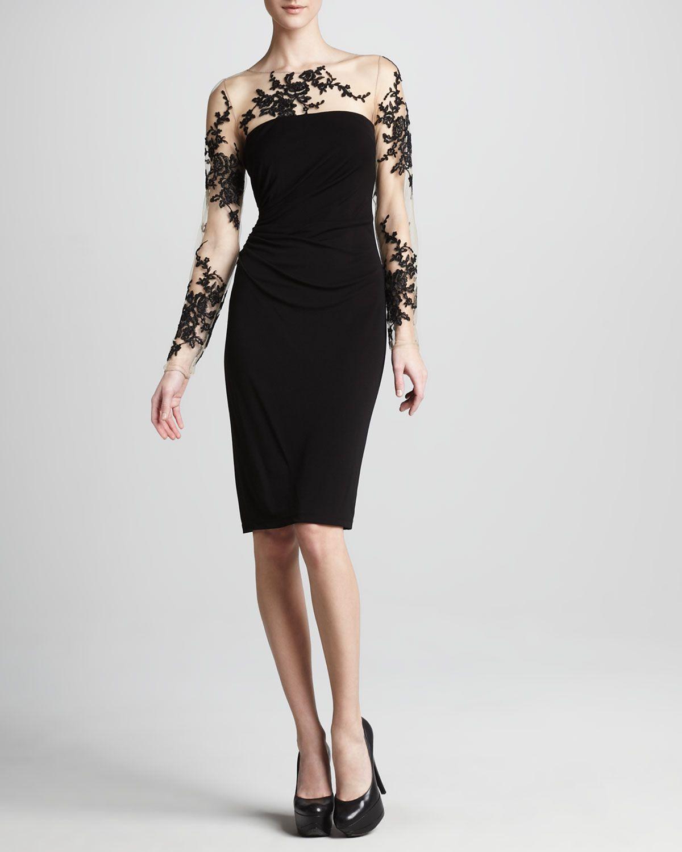 David Meister Illusion-Lace Cocktail Dress - Neiman Marcus | Shoes ...