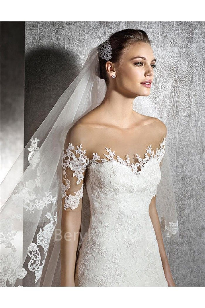Y A Line Illusion Neckline Short Sleeve Tulle Lace Wedding Dress