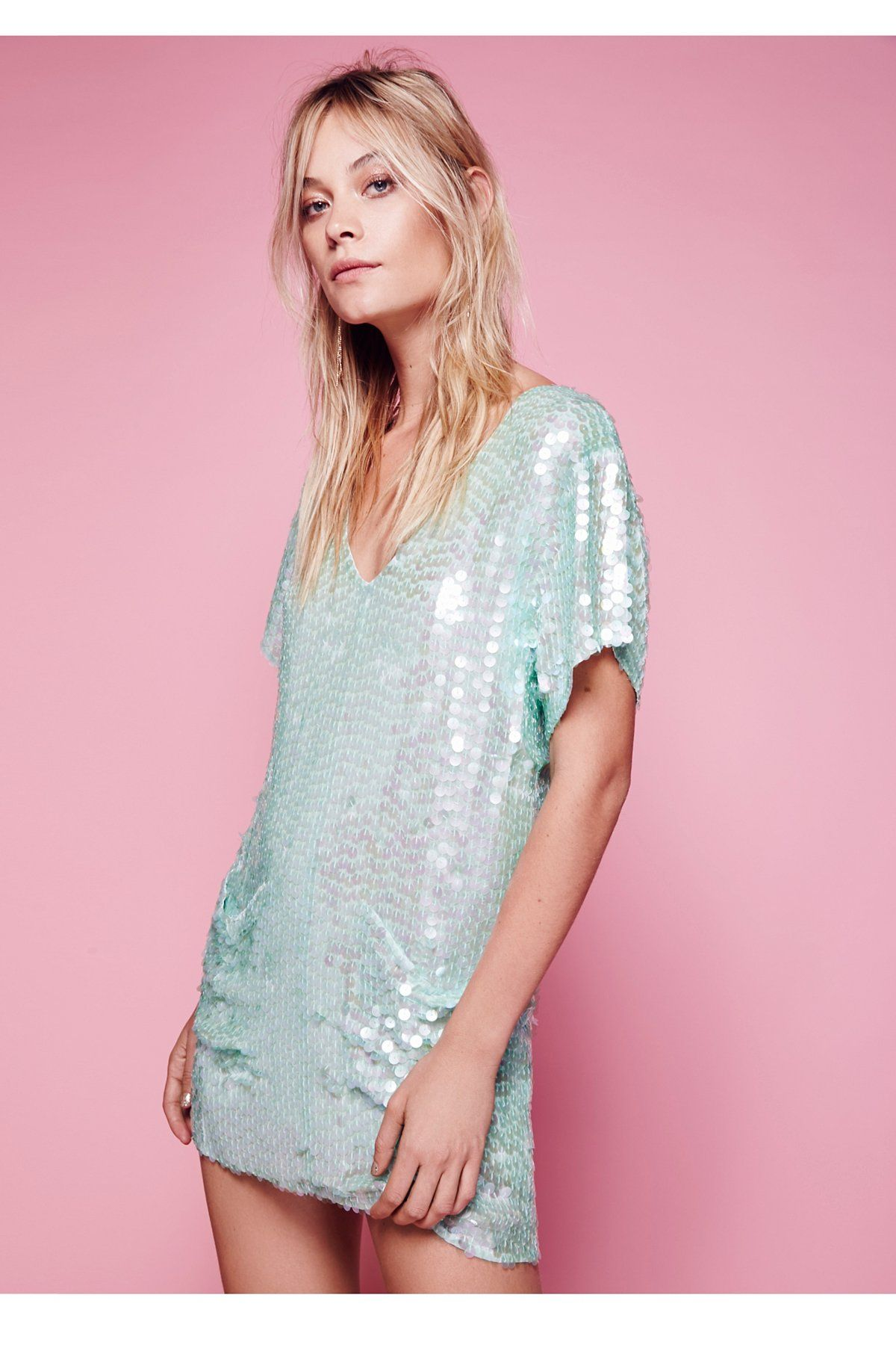 Intimately pearl embellished sequin shift slip at free people