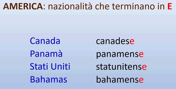 Adjetivos De Nacionalidades Americanas Que Son Iguales Al Masculino Y Al Femenino Adjetivos Aprender Italiano Lexico