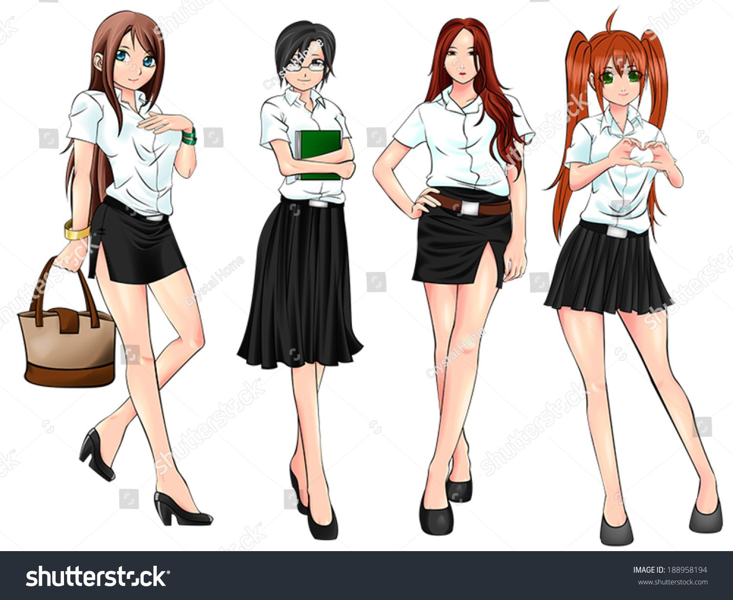 pretty and sexy cartoon asian thai college student in various