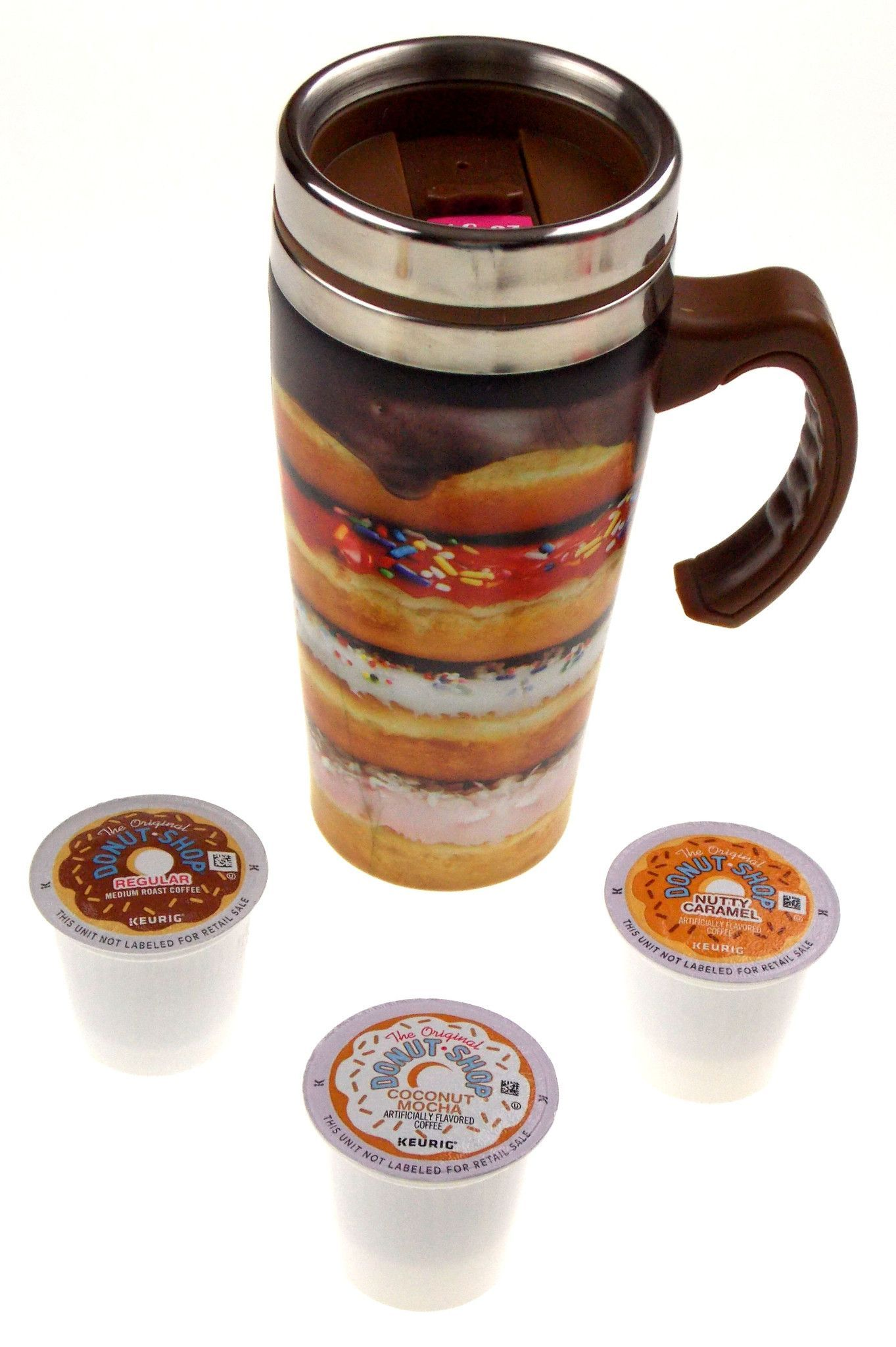 Coffee Travel Mug 16oz Stainless Donut Shop Kcups Insulated Set 4