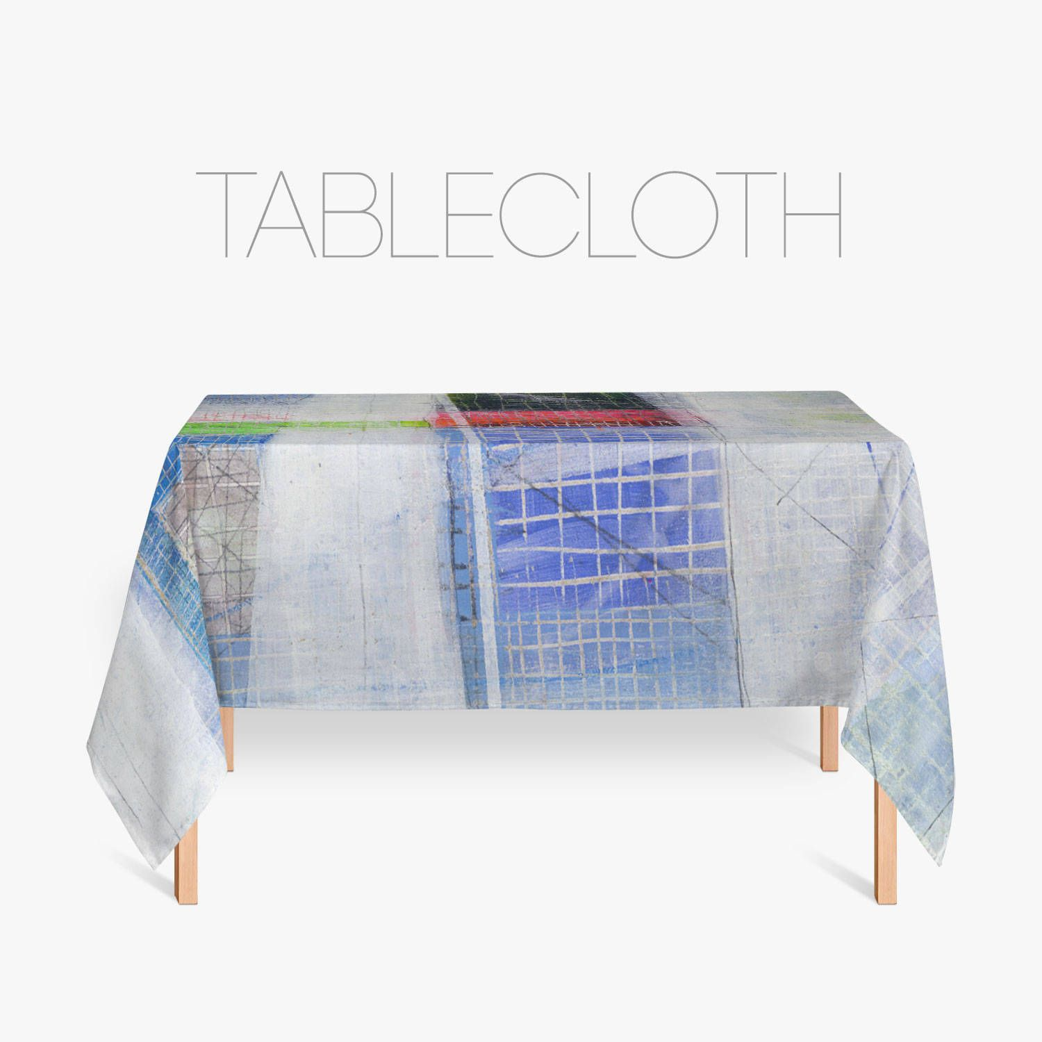 Boho Tablecloth, Kitchen Linen, Abstract Art, Fabric Table Cloth, Blue  Tablecloth,