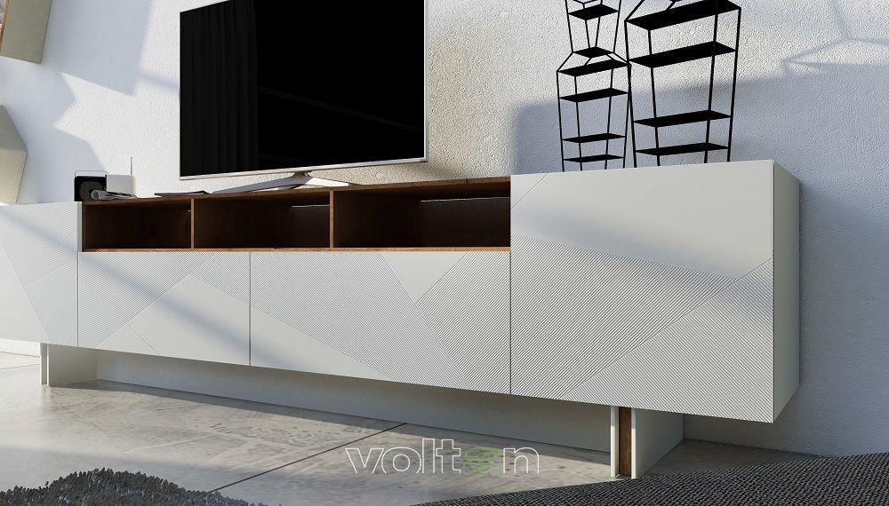 Madia Porta Tv Design.Credenza Moderna Bianca Porta Tv Modello 55 1 Larghezza 300