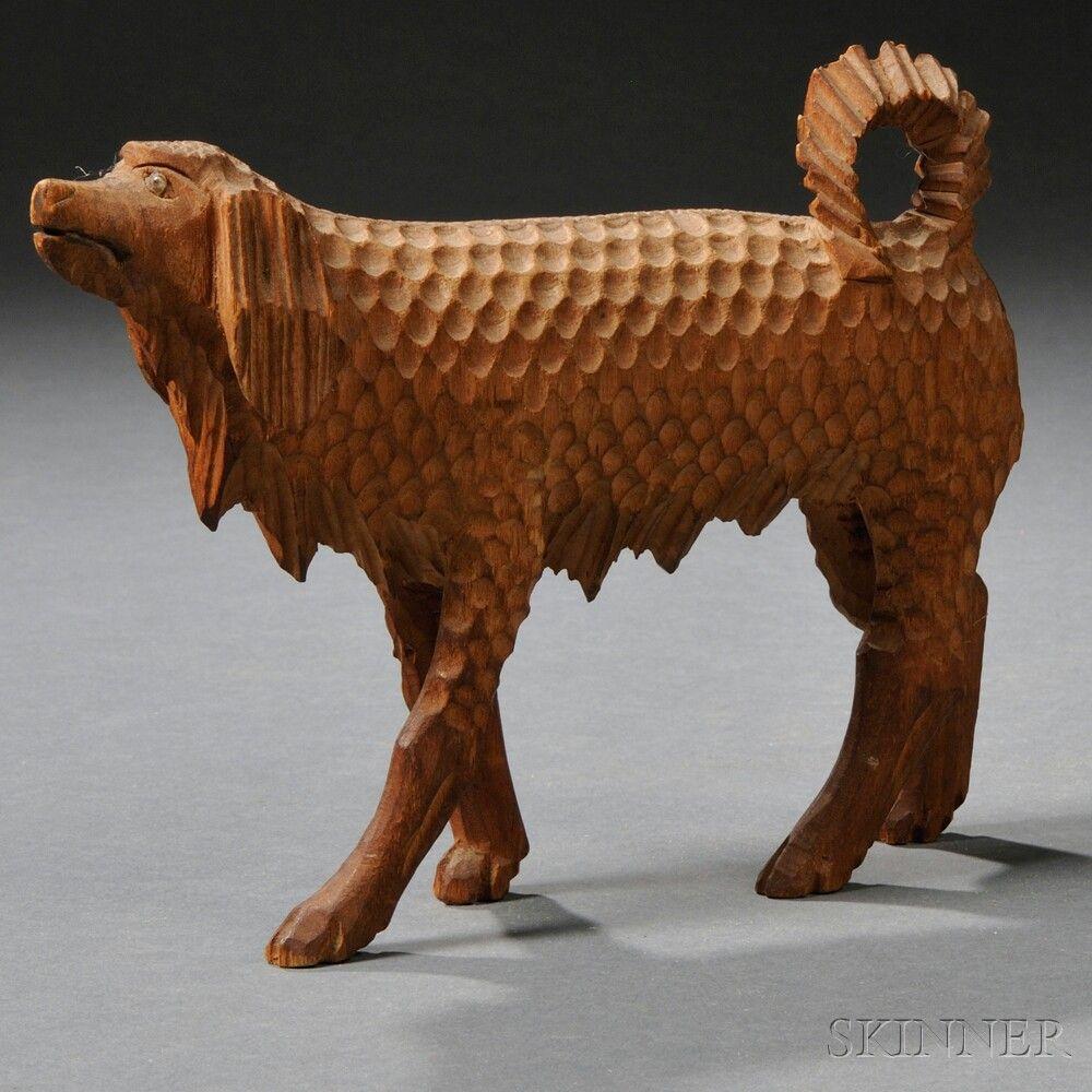 Folk carved wooden walking spaniel figure america late