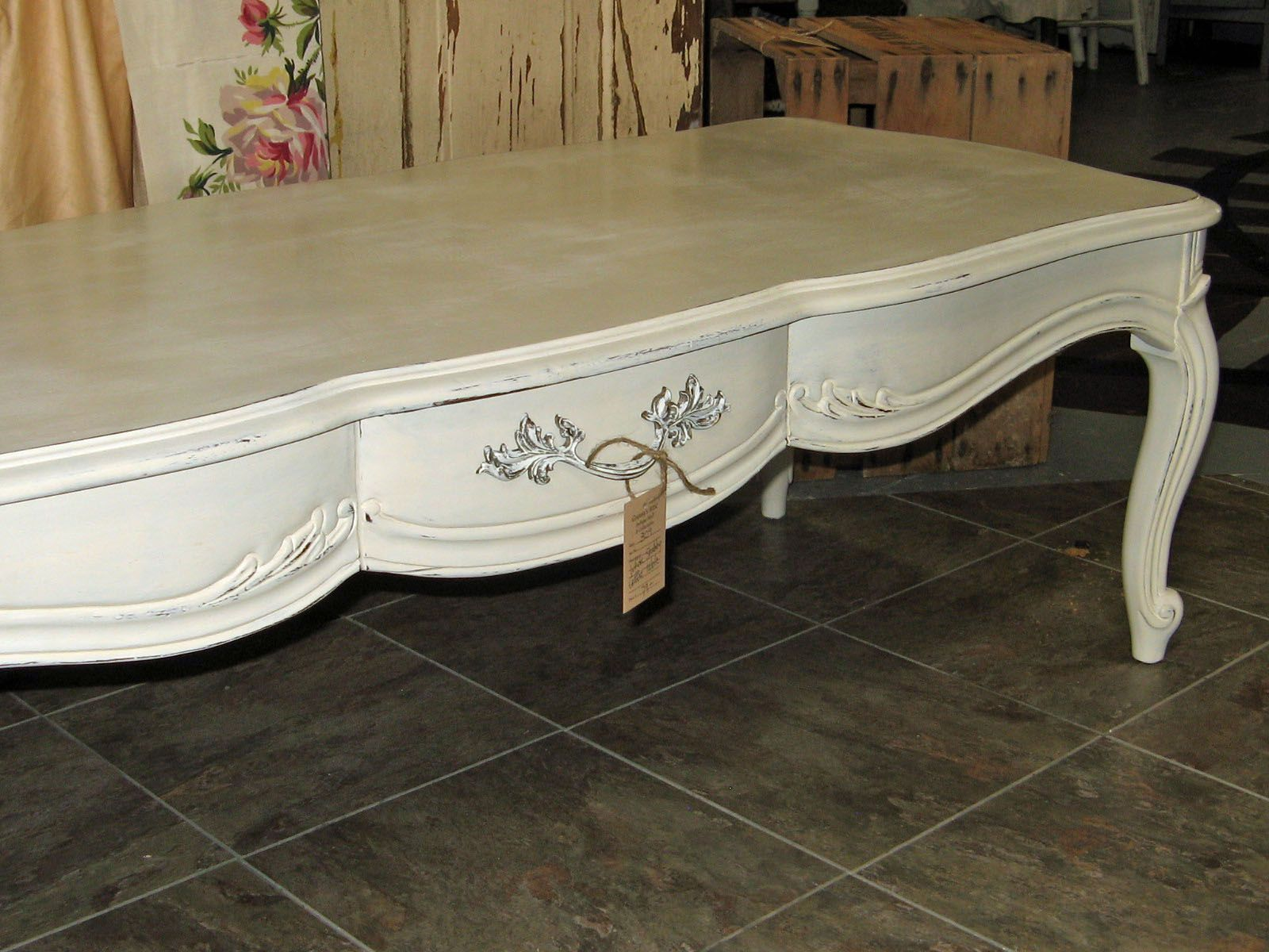 French Provincial coffee table in ASCP Old White with clear and