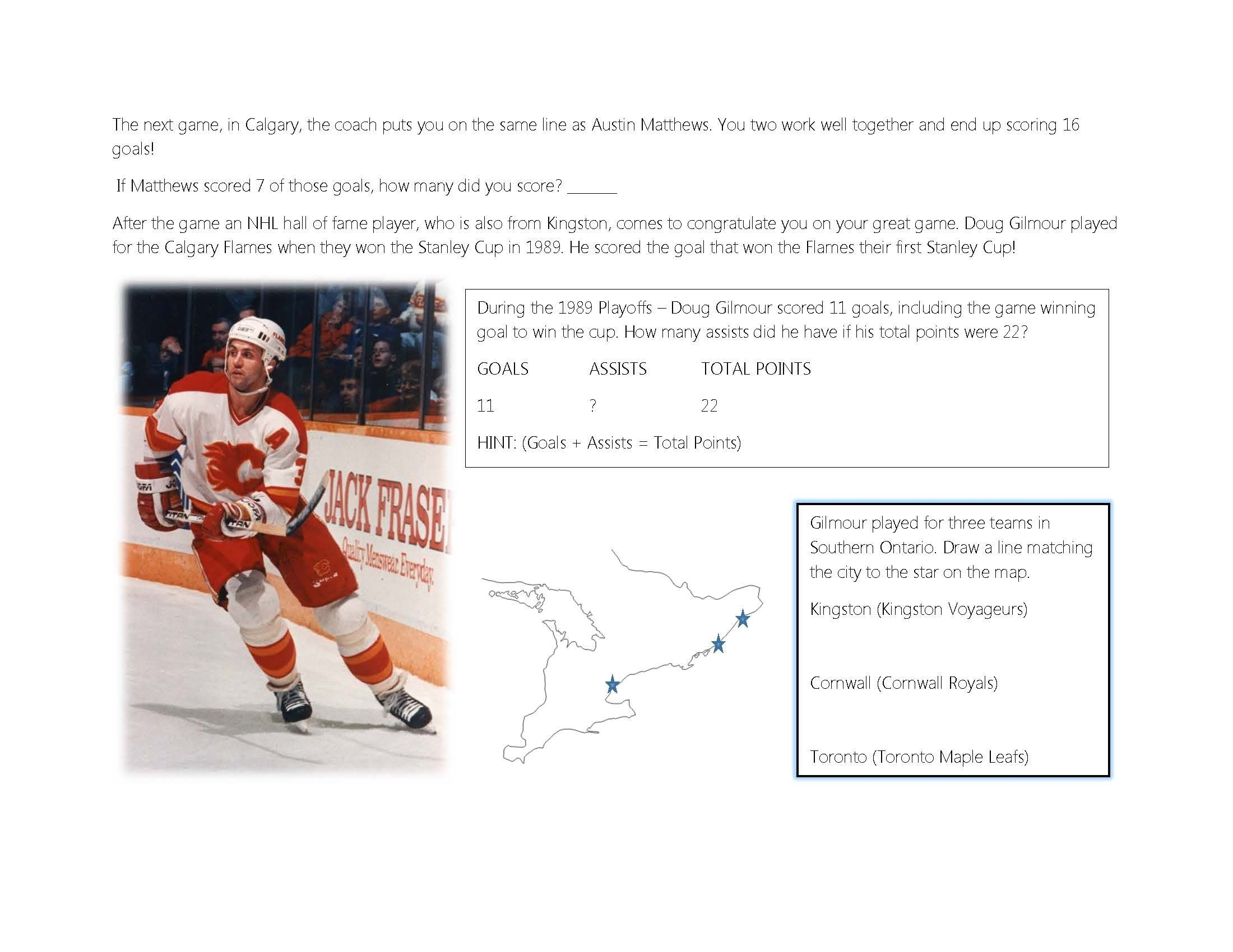Nhl Hockey Themed Worksheets For Math Ontario Geography