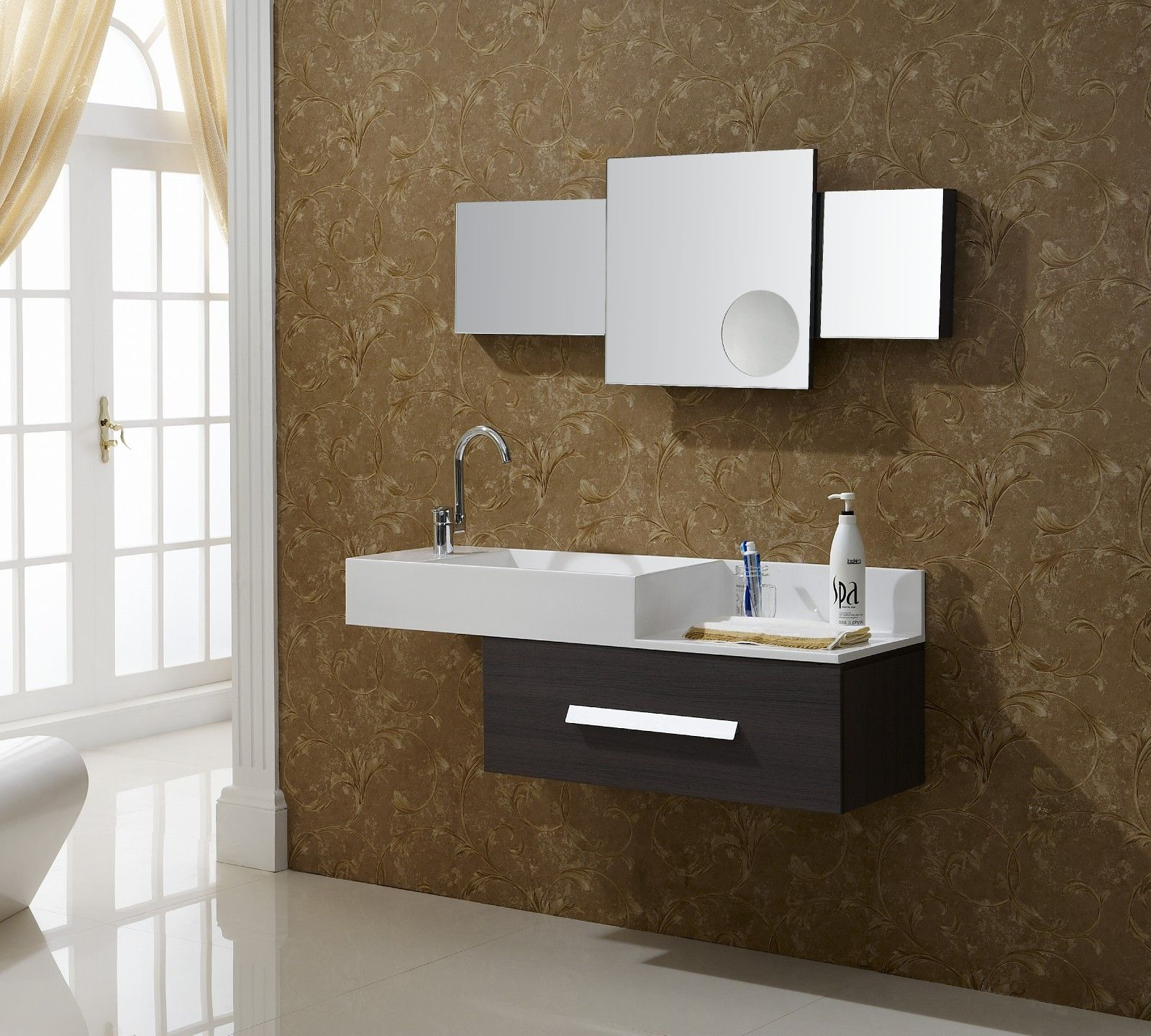 Bathroom Captivating Modern Vanities With Aviateur Wall Mount And Three Square Mirror Also Floating Vanity Sink Storage