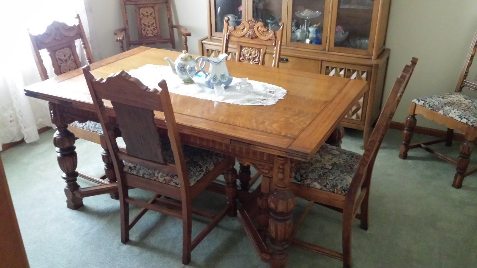 Antique Oak Formal Dining Room Set Table China Cabinet Six