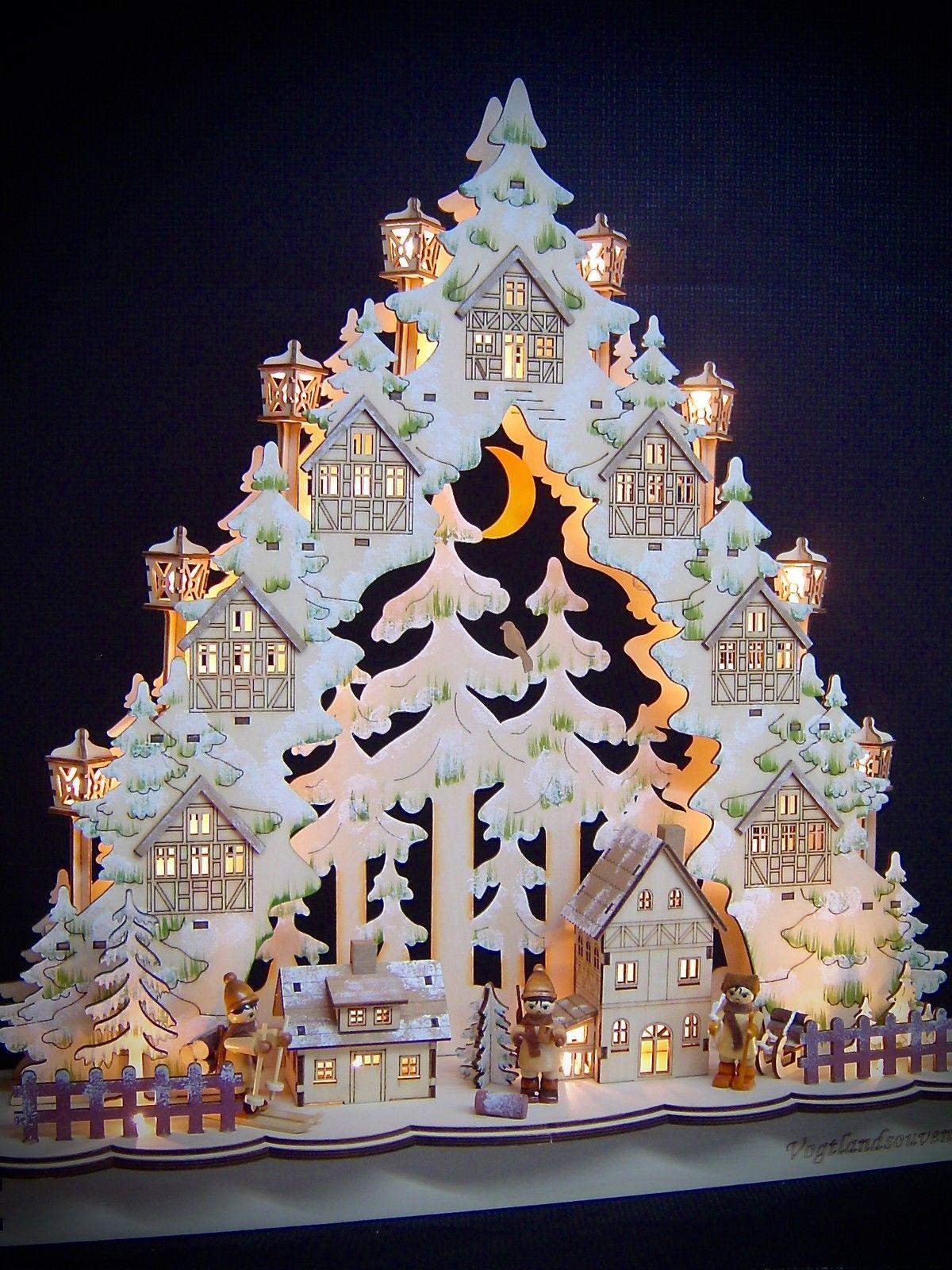 3d Led Lichterbogen Schwibbogen Lichterspitze Mit 3 Winterfiguren 48