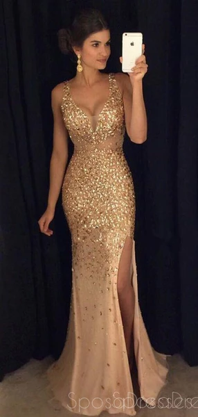 Gold Rhinestone Beaded Mermaid Evening Prom Dresses, Sexy See Through – SposaD…