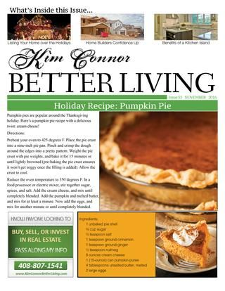 Kim Connor Real Estate Newsletter  November  Better Living Blog