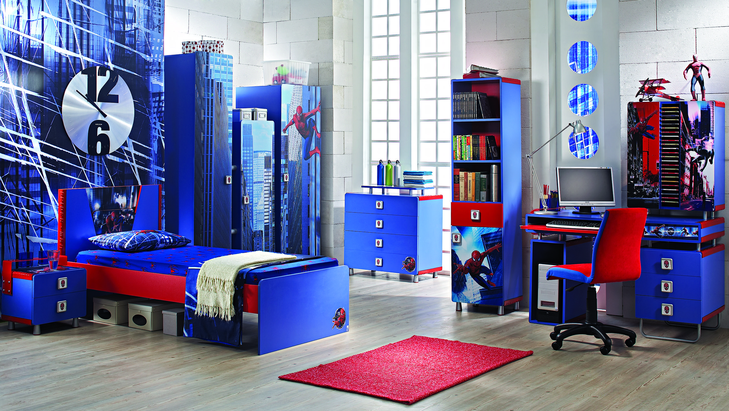 Bedroom, Blue Color Of Bookshelving Also Wardrobe And Dresser Also Bedstead  Also Red Mat In Part 59