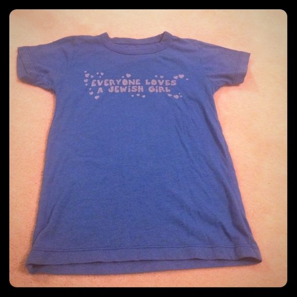 6893bcfd4fb Urban Outfitters T Shirt crew neck Front written  Everyone Loves A Jewish  Girl. Back of shirt  is blank. Size  small Color  Blue. Lettering  White.