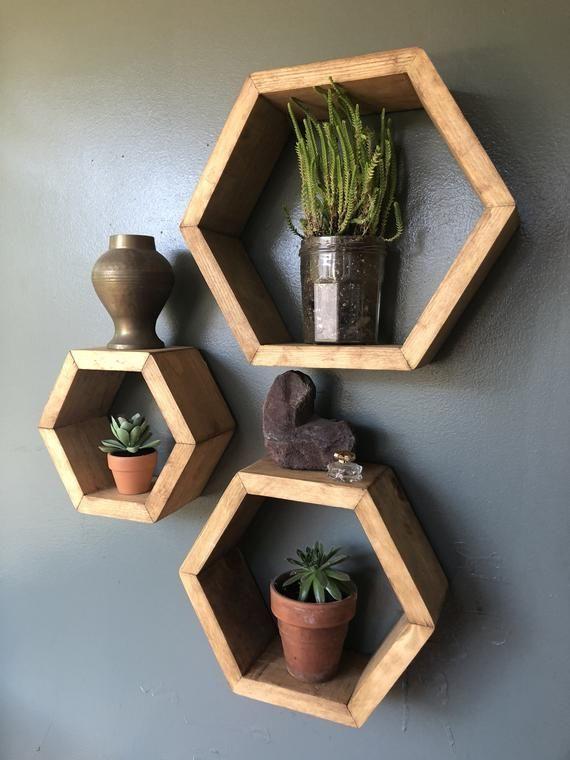 25 Geometric wooden shelf design ideas #home #decor #