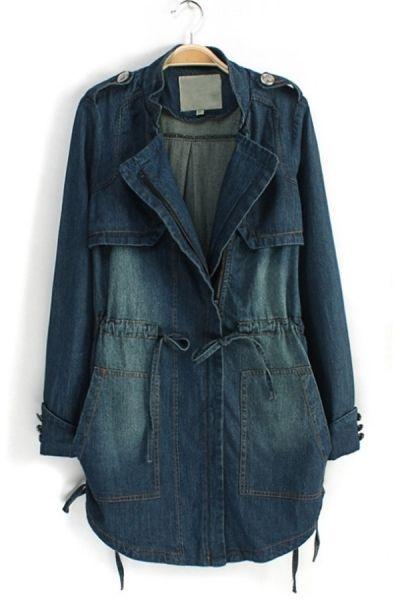 Distressed Drawstring Denim Jacket by Oasap Limited