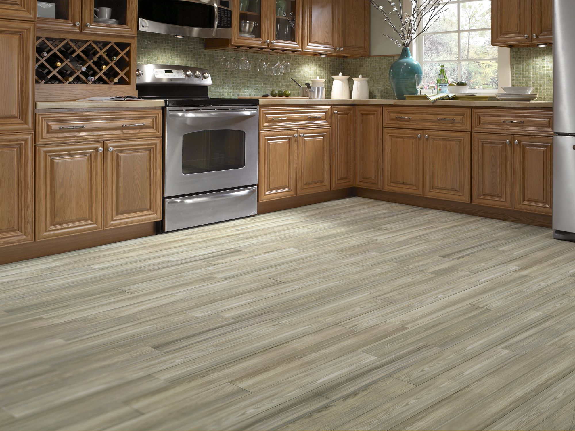 Cottage Wood Ash Porcelain Look Tile Kitchen