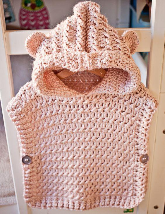 Crochet Hooded Poncho Pullover | Strickmuster, Stricken und Kind