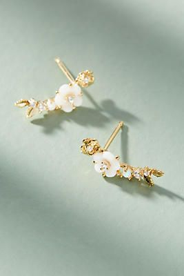 Painted Florals Climber Earrings