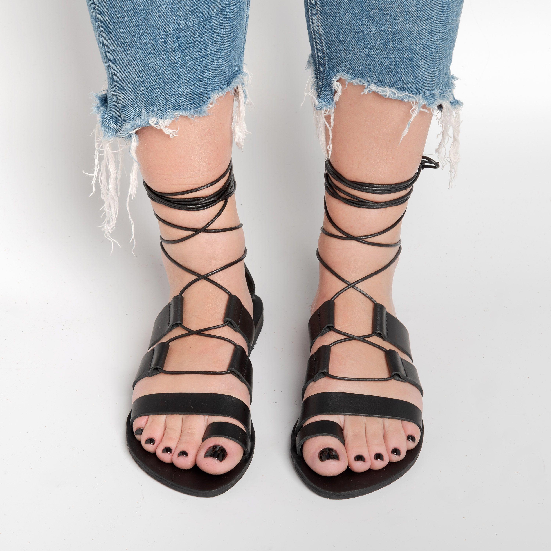black flat sandals Summer flat leather sandals women leather sandals ancient Greek strappy sandals leather sole sandals
