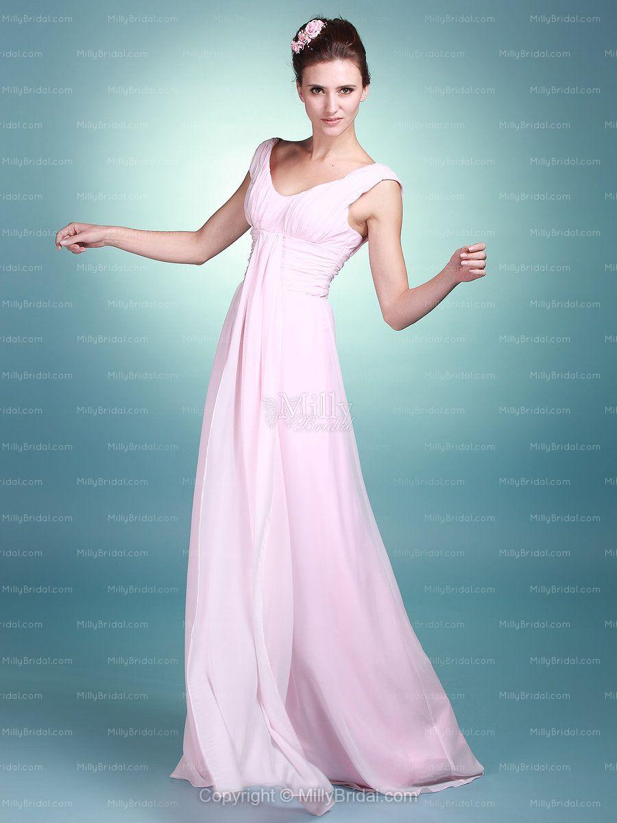 Sheath/Column V-neck Chiffon Floor-length Pink Pleating Prom Dress ...