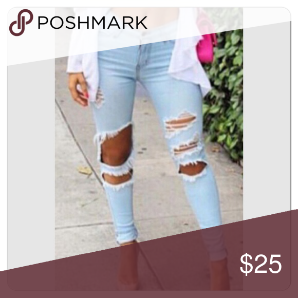 Sexy Light Blue Denim Zip Closure Cut Out Jeans Light blue jeans Jeans Skinny