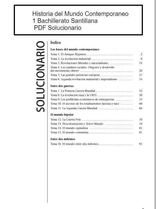 Solucionario Historia Del Mundo Contemporáneo 1 Bachillerato Santillana Historia Del Mundo Filosofia 1 Bachillerato Bachillerato