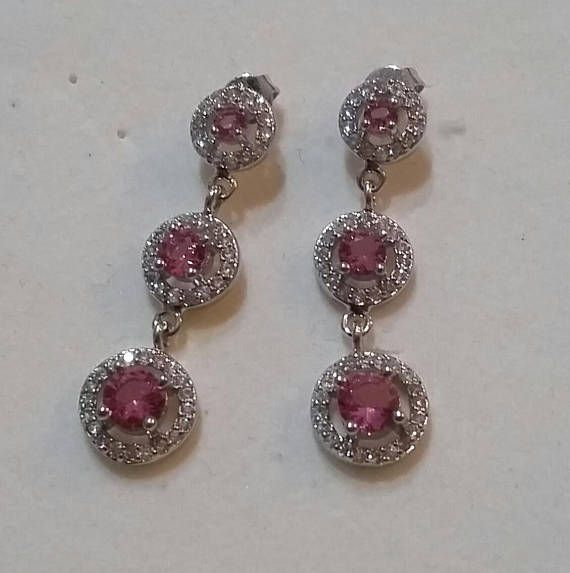 Pink Stone Earrings Wedding Cubic Zirconia Gemstone Silver Cz