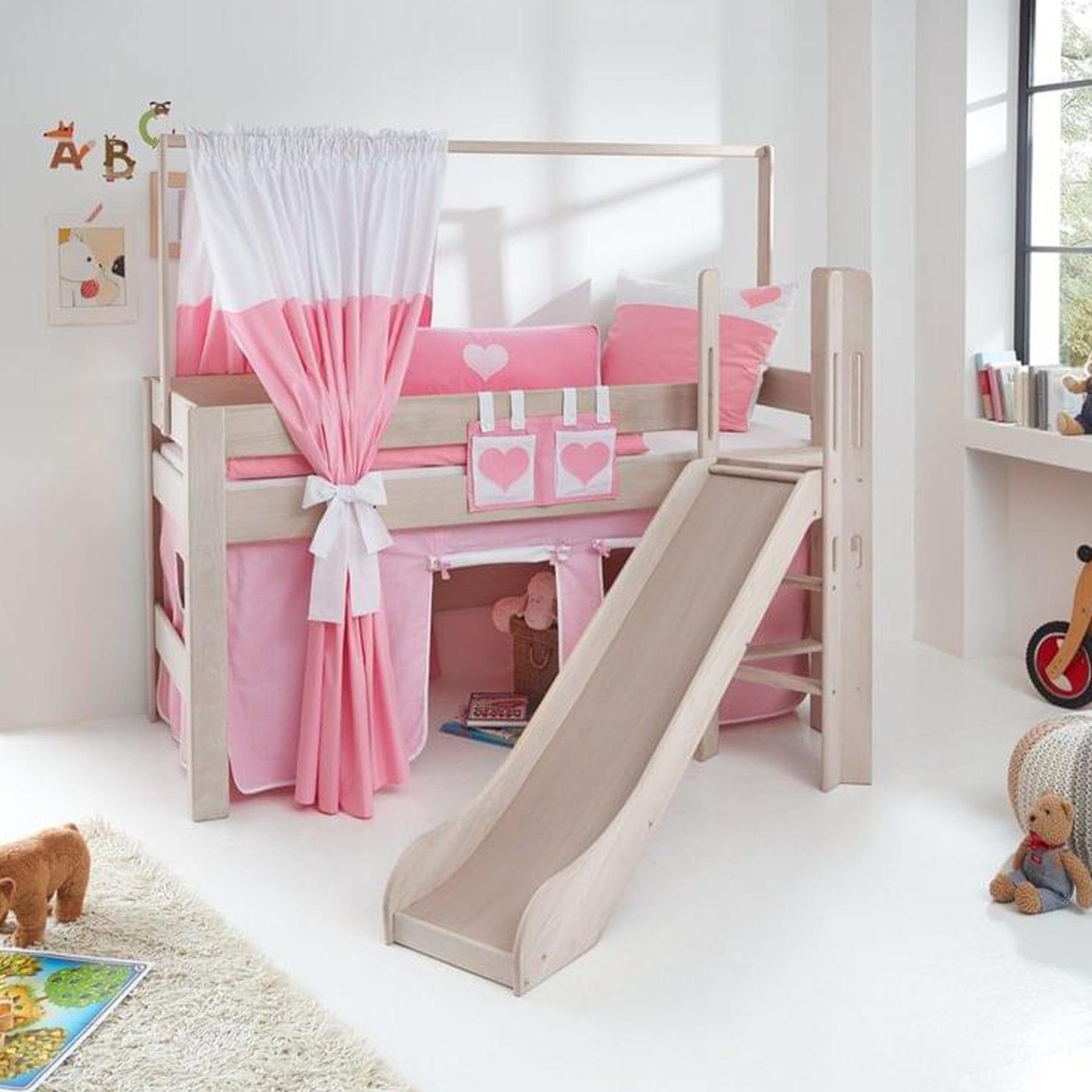 Kinderhochbett Holz Mit Rutsche Vorhang Weiss Pink Herzen