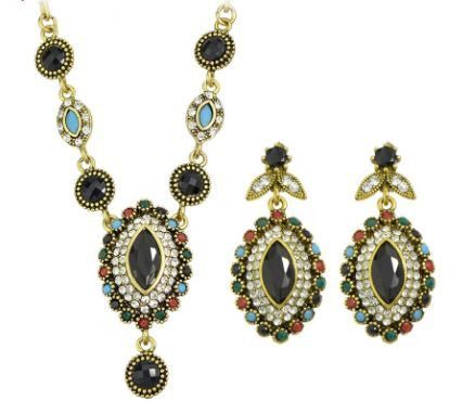 Colorful Rhinestone Water Drop Pendant Necklace and Drop Earrings in Antique Gold